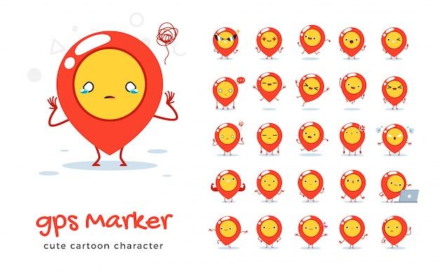 Conjunto de dibujos animados de marcador gps. ilustración.