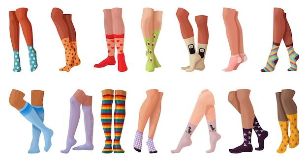 Conjunto de dibujos animados de media de mujer icono. ilustración moda calcetín sobre fondo blanco. conjunto de dibujos animados icono mujer media.