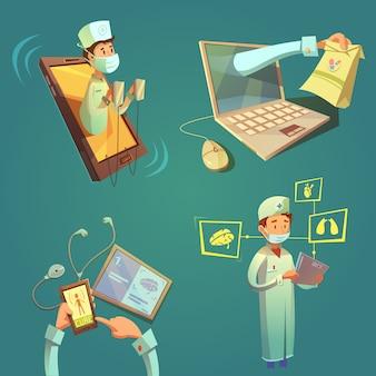 Conjunto de dibujos animados médico en línea