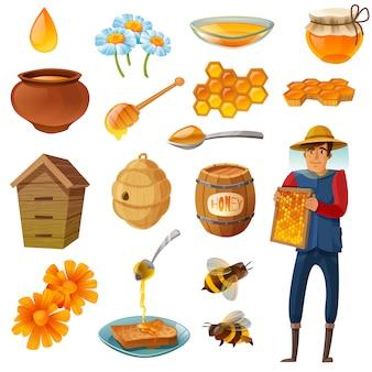 Conjunto de dibujos animados de miel