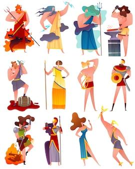 Conjunto de dibujos animados de mitología de grecia