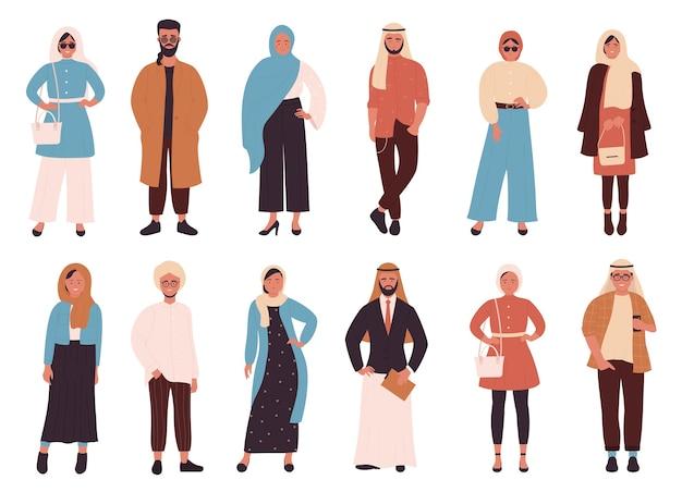 Conjunto de dibujos animados de moda musulmana, estilo de ropa moderna de moda árabe para mujer y hombre musulmanes