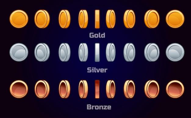 Conjunto de dibujos animados de monedas de metal, rotación de juego de animación vectorial por turnos.
