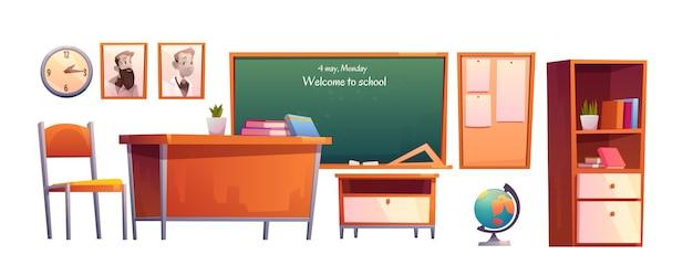 Conjunto de dibujos animados de muebles de aula escolar, pizarra
