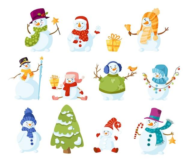 Conjunto de dibujos animados de muñeco de nieve
