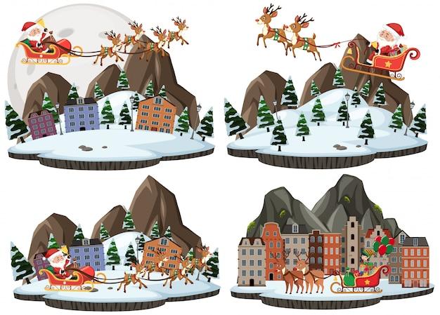 Conjunto de dibujos animados de navidad y santa claus con ciervos de lluvia
