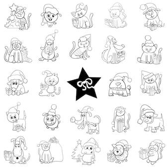 Conjunto de dibujos animados navideños en blanco y negro.