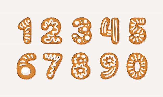 Conjunto de dibujos animados de números árabes de pan de jengibre - vacaciones navidad galleta de jengibre aislado