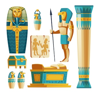 Conjunto de dibujos animados de objetos antiguos de egipto aislado en el fondo.