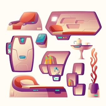 Conjunto de dibujos animados con objetos futuristas para nave espacial.