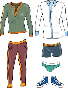 Conjunto de dibujos animados de objetos de ropa de hombres