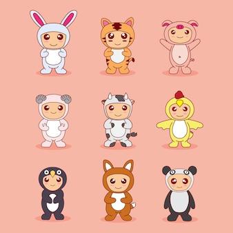 Conjunto de dibujos animados de paquete bebé lindo con disfraz de animal