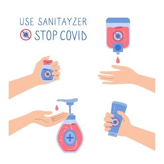 Conjunto de dibujos animados de pared de desinfectante de manos stop virus covid