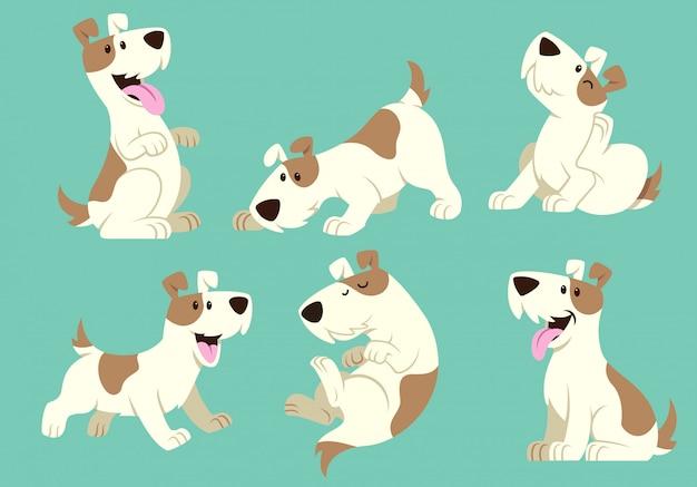 Conjunto de dibujos animados de perro jack russel terrier