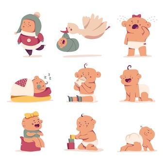 Conjunto de dibujos animados de personajes de bebé lindo