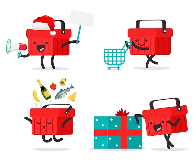 Conjunto de dibujos animados de personajes de cesta de compras lindo aislado en un fondo blanco
