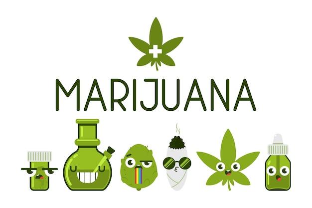 Conjunto de dibujos animados de personajes divertidos de marihuana medicinal aislado sobre fondo blanco.