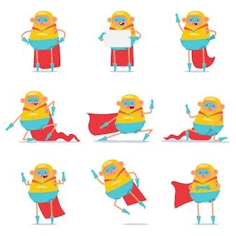 Conjunto de dibujos animados de personajes de superhéroe gordo lindo aislado