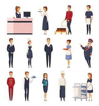 Conjunto de dibujos animados del personal del hotel