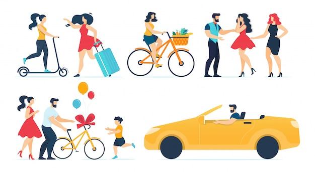Conjunto de dibujos animados de personas felices actividades de tiempo libre