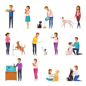 Conjunto de dibujos animados de personas con mascotas