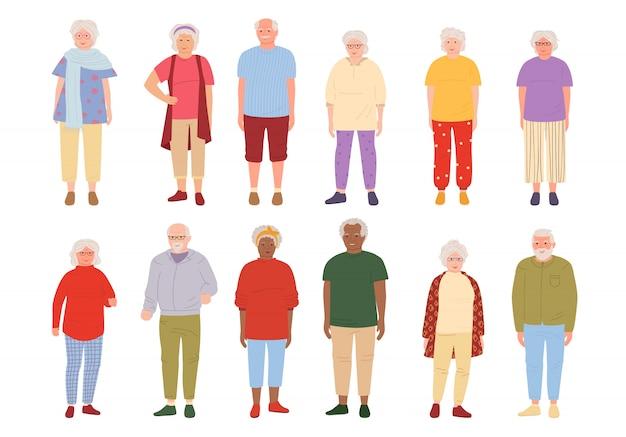 Conjunto de dibujos animados de personas mayores. grupo de abuelos. representantes de diferentes naciones personas mayores