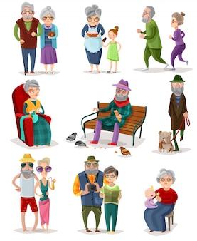 Conjunto de dibujos animados de personas mayores