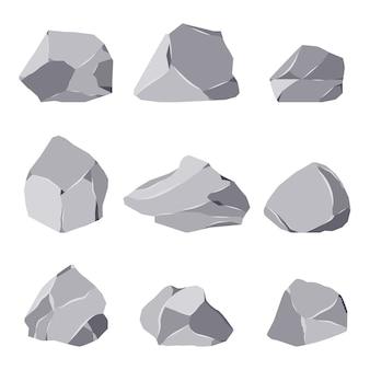 Conjunto de dibujos animados de piedras de roca