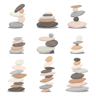 Conjunto de dibujos animados de piedras zen aislado en un fondo blanco