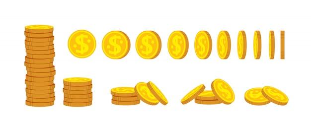 Conjunto de dibujos animados de pila de monedas. monedas de oro montón montón, signo de moneda bancaria. cientos de billetes en efectivo. los centavos se dan vuelta para la animación