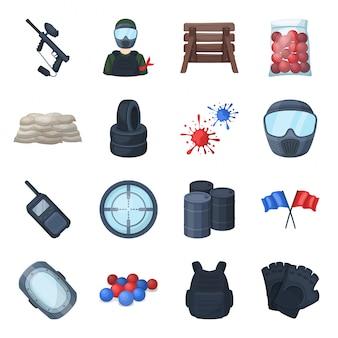 Conjunto de dibujos animados de pintball icono. deporte ame. conjunto de dibujos animados aislados paintball icono.