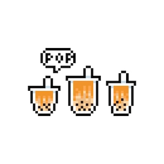 Conjunto de dibujos animados de pixel art de icono de té de leche de burbuja.