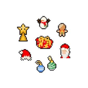 Conjunto de dibujos animados de pixel art de lindo icono de navidad.