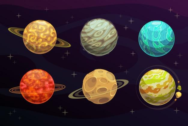 Conjunto de dibujos animados de planetas de fantasía espacial juego de galaxia