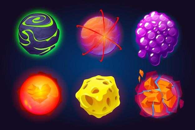 Conjunto de dibujos animados de planetas fantásticos