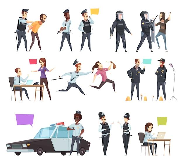 Conjunto de dibujos animados de policías en el trabajo