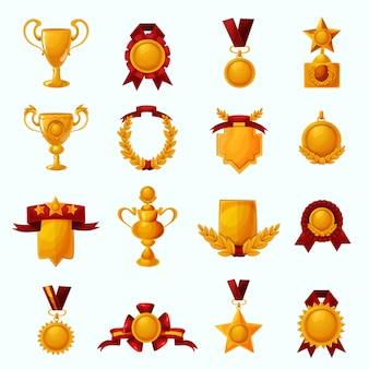 Conjunto de dibujos animados de premios