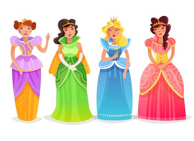 Conjunto de dibujos animados de princesas