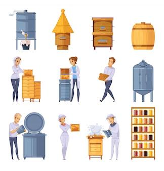 Conjunto de dibujos animados de producción de miel de colmenar