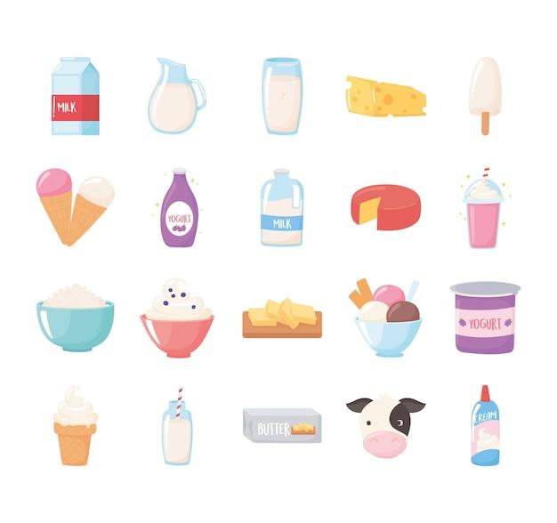 Conjunto de dibujos animados de productos lácteos de leche