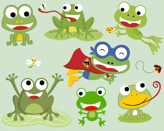Conjunto de dibujos animados de ranas