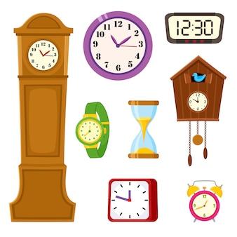 Conjunto de dibujos animados de reloj, reloj y reloj de arena