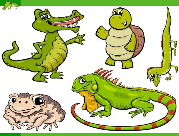 Conjunto de dibujos animados de reptiles y anfibios