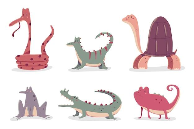 Conjunto de dibujos animados de reptiles de serpiente, lagarto, tortuga, rana, cocodrilo, camaleón.