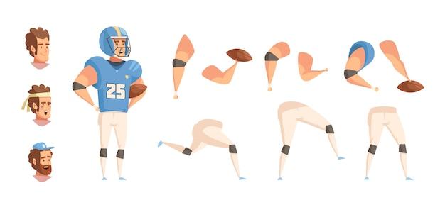 Conjunto de dibujos animados retro deportista constructor