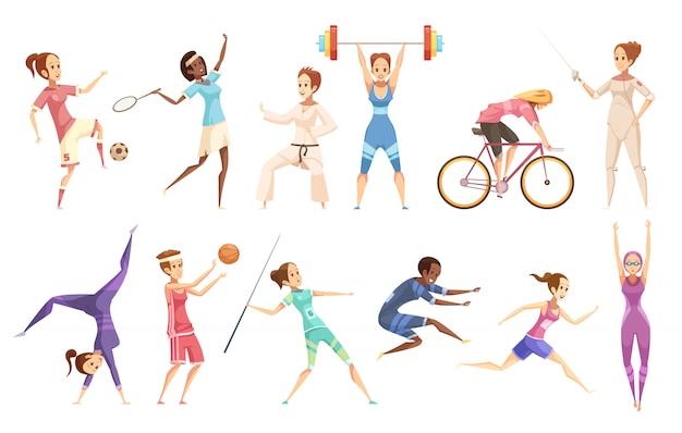 Conjunto de dibujos animados retro de deportista de personajes femeninos aislados haciendo diferentes tipos de deporte en blanco