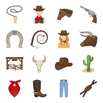 Conjunto de dibujos animados de rodeo icono. icono de conjunto de dibujos animados aislados occidentales. ilustración de rodeo.