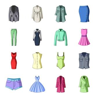 Conjunto de dibujos animados de ropa de moda icono. accesorios de ilustración. conjunto de dibujos animados aislados icono ropa de moda.