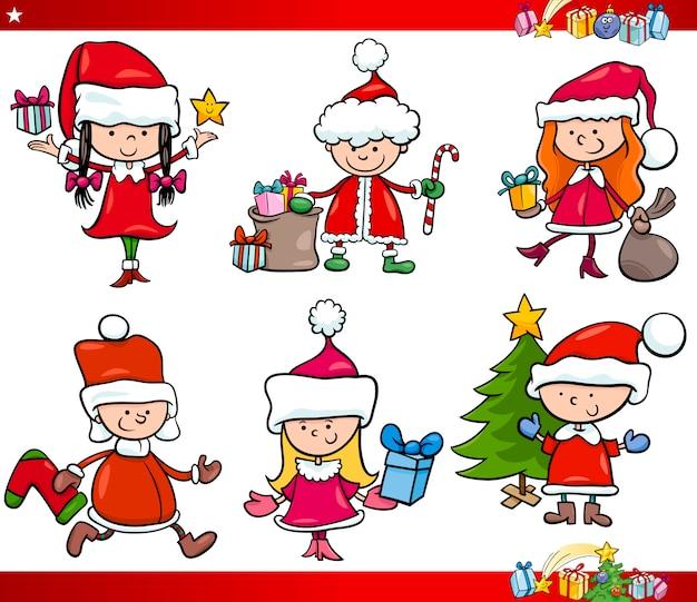 Conjunto de dibujos animados de santa y navidad