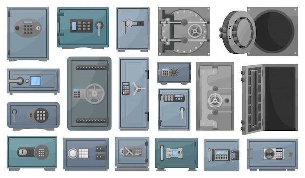 Conjunto de dibujos animados seguro de banco icono